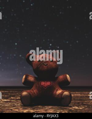 Oso de peluche sentado solo fuera por la noche,3D rendering Imagen De Stock