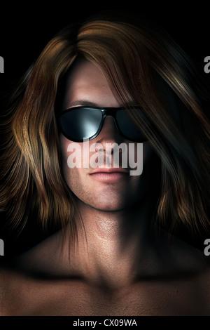 Foto-realistas, ilustración digital de fresco, joven, atractivo hombre con largo pelo desordenado con gafas Imagen De Stock