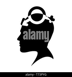 Perfil de una cabeza de hombre con un símbolo bigender, diseño plano Imagen De Stock