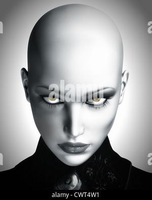 Una ilustración digital en blanco y negro de una hermosa mujer futurista calvo, mirando a la cámara. Imagen De Stock