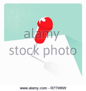 Pin único mapa en papel en blanco Imagen De Stock