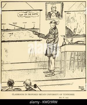En CLASSROON PROPUSO BRYAN UNIVERSITY EN TENNESSEE, 18 de julio de 1925, por Rollin Kirby, NEW YORK WORLD. La amordazó Imagen De Stock