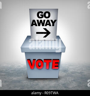 La supresión del voto y votar la privación para influir en el resultado de una elección como la revocación del derecho de voto y de las leyes de acceso. Imagen De Stock