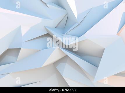 Blanco de fondo geométrico triángulo poligonal. Ilustración 3D Imagen De Stock