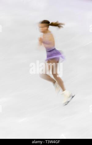 Desenfoque de movimiento de acción Isadora Williams (BRA) competir en el Patinaje artístico - Corto de damas en los Juegos Olímpicos de Invierno PyeongChang 2018 Imagen De Stock