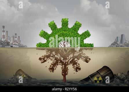 La contaminación y el desarrollo comercial o industrial el concepto de riesgo como un árbol con forma parte de la máquina cog dañados por el agua contaminada. Imagen De Stock