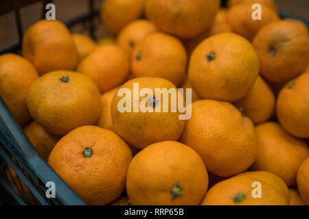 Delicious jugosa naranja mandarina en la caja Imagen De Stock
