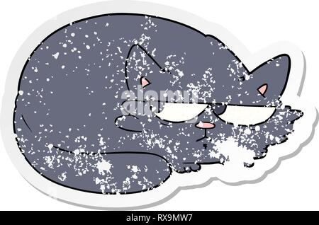 Pegatina angustiado de una historieta cat sospechosa Imagen De Stock