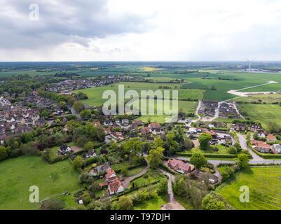 Vista aérea de la pequeña ciudad de Eye, en Suffolk, Inglaterra Imagen De Stock