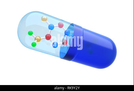 Nueva fórmula con cápsulas de medicamentos. Ilustración 3D Imagen De Stock