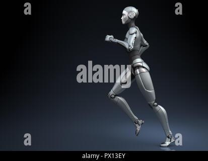 El robot ejecuta sobre fondo oscuro. Ilustración 3D Imagen De Stock