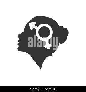 Perfil de una cabeza femenina con el símbolo de bigender, diseño plano Imagen De Stock