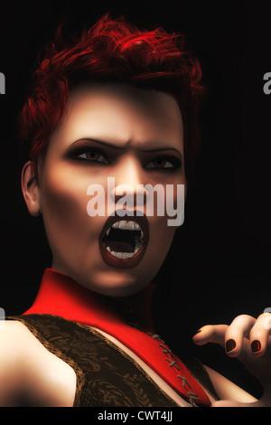 Una foto-realistas, ilustración digital de un vampiro hembra cabeza roja Imagen De Stock
