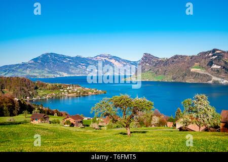 Vistas sobre el lago de Lucerna con Buergenstock y Weggis Imagen De Stock