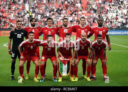 Enero 15, 2019 : equipo de Palestina en Palestina v Jordania en el estadio Mohammed Bin Zayed, en Abu Dhabi, Emiratos Árabes Unidos, AFC Copa Asiática, campeonato de fútbol asiático. Ulrik Pedersen/CSM. Imagen De Stock