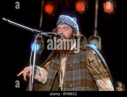 Jethro Tull son un grupo de rock progresivo británico. Su música se caracteriza por la voz, guitarra acústica y la flauta de Ian Anderson. 1980 Imagen De Stock