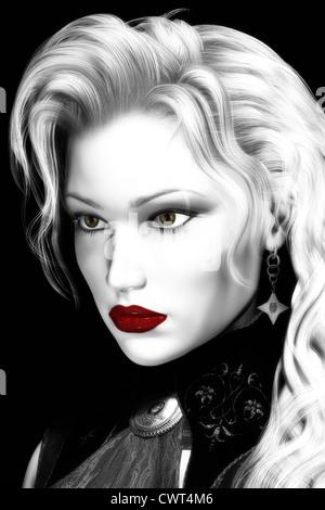 Ilustración digital artística de mujer atractiva realizada en blanco y negro de alto contraste con elementos Imagen De Stock