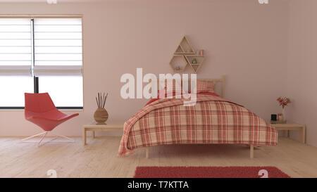 Render de 3D Interior del dormitorio contemporáneo Imagen De Stock