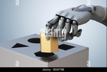 Mano robótica con caja lógica. Ilustración 3D, Imagen De Stock