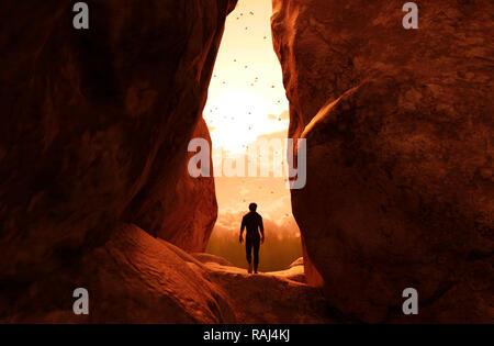 Hombre caminando hacia la luz, y salir de la cueva,3d ilustración Imagen De Stock