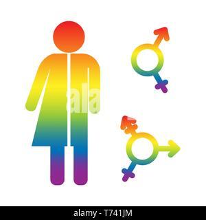 Unisex de símbolos. Iconos y transexual bigender en Mariupol, diseño plano Imagen De Stock