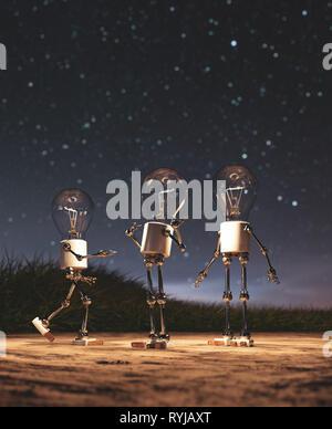 Bombilla robots dando una luz en la noche estrellada bagaje conceptual Imagen De Stock