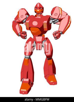 Estilo Anime robot gigante. Ilustración 3D Imagen De Stock