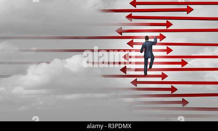 Liderazgo estrategia ganadora el éxito empresarial concepto como un empresario subiendo una escalera hecha de flechas como una carrera corporativa subir la metáfora. Imagen De Stock