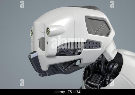 Cabeza de perro robot sobre un fondo gris. Ilustración 3D Imagen De Stock