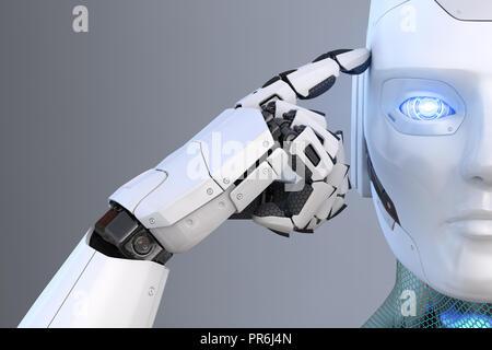 El robot tiene un dedo cerca de la cabeza. Ilustración 3D Imagen De Stock