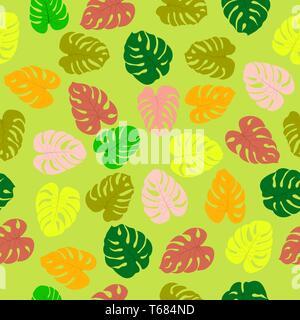 Patrón sin fisuras con plantas tropicales monster hojas. Modernos colores aleatorios. Ideal para textiles, embalajes, papel de impresión, antecedentes y texto simple Imagen De Stock