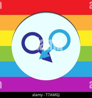 Dos personajes masculinos en un círculo blanco con fondos en colores LGBT Imagen De Stock