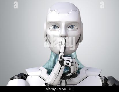 Robot con el dedo en los labios pidiendo silencio. Ilustración 3D Imagen De Stock