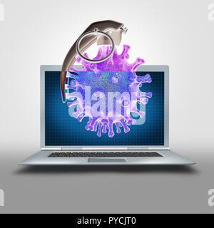 Bomba lógica o símbolo de virus informáticos y software malintencionado o caballos de troya y cyberwarfare icono en un dispositivo móvil portátil como una ilustración 3D. Imagen De Stock