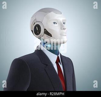 Pensativo en traje de robot. Ilustración 3D Imagen De Stock