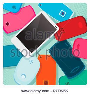 Teléfono inteligente moderno blanco de pie fuera del montón de viejos teléfonos móviles Imagen De Stock