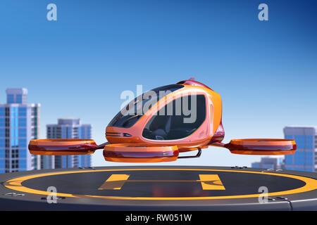 Zumbido del pasajero de aterrizaje en la parte superior de un edificio. Este es un modelo 3D y no existe en la vida real. Ilustración 3D Imagen De Stock