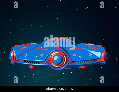 Cartoon OVNI volando en el espacio. Ilustración 3D Imagen De Stock
