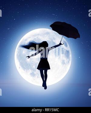 Niña volando con un paraguas a la luna,3D rendering Imagen De Stock