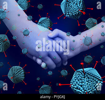 Adenovirus brote de enfermedades como la infección por el virus de la enfermedad de las vías respiratorias causan fiebre alta como las manos de los niños para la salud pediátrica con microscópicas. Imagen De Stock