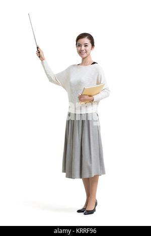 Joven Profesora sosteniendo el puntero del profesor Imagen De Stock