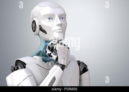 Soñar robot. Trazado de recorte incluido. Ilustración 3D Imagen De Stock