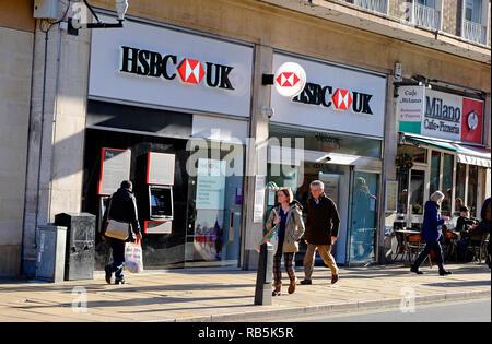 El banco hsbc sucursal, centro de la ciudad de Cambridge, Inglaterra Imagen De Stock