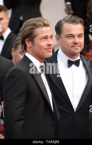 Mayo 21, 2019 - Cannes, Francia - CANNES, Francia - 21 de mayo: (L-R), Brad Pitt, Leonardo DiCaprio, Quentin Tarantino y Margot Robbie asistir a la proyección de ''Érase una vez en Hollywood'' durante el 72º Festival Anual de Cine de Cannes el 21 de mayo de 2019 en Cannes, Francia. (Crédito de la Imagen: © Frederick InjimbertZUMA Wire) Imagen De Stock