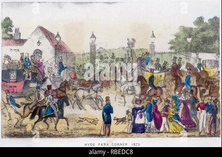 HYDE PARK CORNER, London,1825 Imagen De Stock