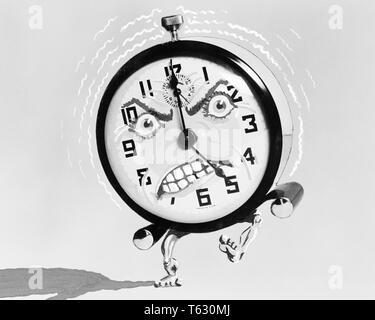 1930 1940 ILUSTRACIÓN DE DESPERTADOR CON ENOJO PATADAS Y SONANDO A LAS 5 DE LA MAÑANA - s7989 HAR001 HARS MOLESTO DESPERTAR CONCEPTUAL TODAVÍA HUMANIZADO ALERTA VIDA AM AMANECER RUIDOSO AIRADAMENTE LEVANTARSE O'Clock conceptos simbólicos ANTROPOMORFO HAR EN BLANCO Y NEGRO001 REPRESENTACIÓN ANTIGUA Imagen De Stock