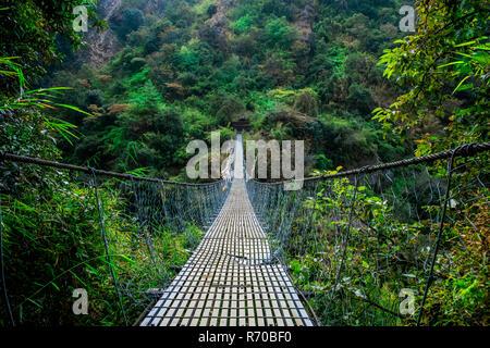Vista frontal del puente colgante en Nepal, Langtang valley Imagen De Stock