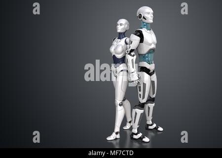 Robots femeninos y masculinos. Ilustración 3D Imagen De Stock