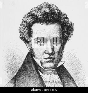 SØREN Kierkegaard (1813-1855), filósofo danés acerca de 1840 Imagen De Stock