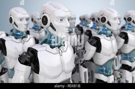 Multitud de robots. Ilustración 3D Imagen De Stock
